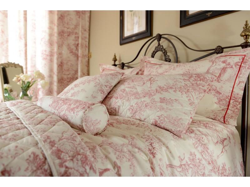 Toile De Jouy Antique Pink Filled Square Cushion