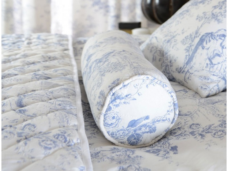 Toile De Jouy China Blue Filled Bolster Cushion