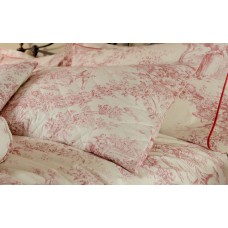 Toile De Jouy Antique Red Quilted Pillow Shams