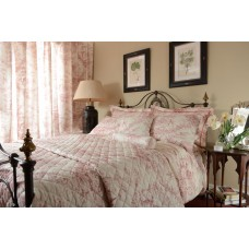 Toile De Jouy Antique Pink Quilted Bedspreads