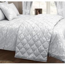Vantona Como Silver Quilted Bedspread / Throw