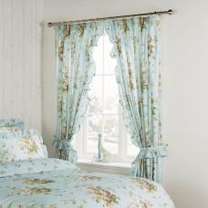 "Vantona Madeleine Duckegg Floral 3"" Header Tape Curtains with Tie Backs"