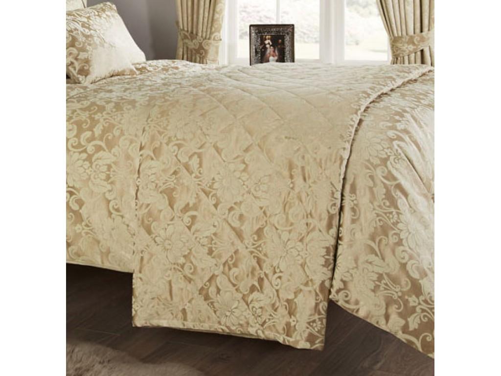 Vantona Como Gold Quilted Bedspread / Throw
