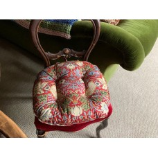 William Morris Crimson Strawberry Thief Extra Large Piped Seat Pads